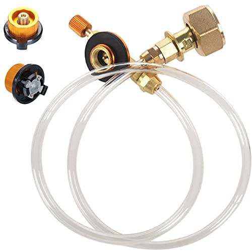 MaxAwe Adaptador de recarga de gas propano para hornillo de camping al aire libre, GLP, cilindro plano acoplador, convertidor de botella con manguera de gas