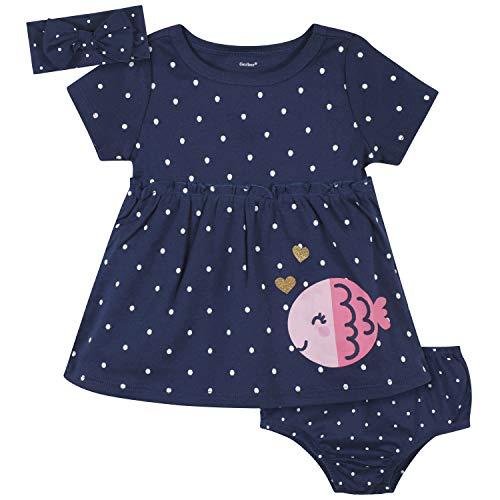 Gerber Baby Girls' 3-Piece Dress, Diaper Cover and Headband Set, Blue Fish, 18 Months