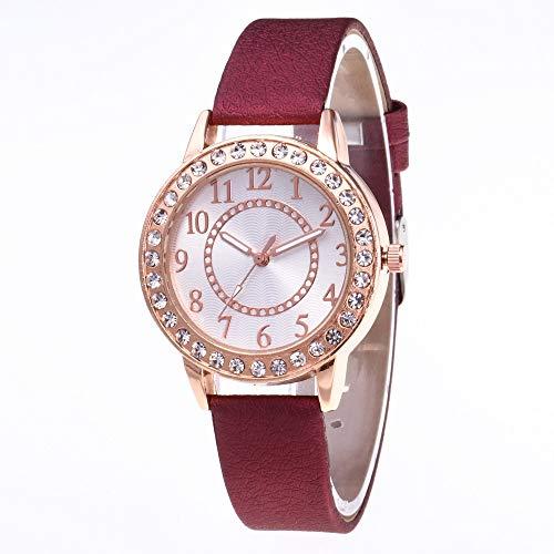 JZDH Relojes para Mujer Relojes Mujeres Famosas Marcas Mujeres Diamante Casual Reloj de Cuarzo Relojes de Cuero Strap Relojes para Regalos Reloj Relojes Decorativos Casuales para Niñas Damas
