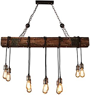 Homili Vintage Rust Wooden Pendant Light Fixtures Ceiling Lighting Chandelier for Dining Room Kitchen