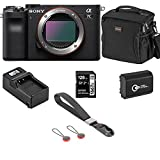 Sony Alpha 7C Mirrorless Digital Camera, Black - Bundle with Bag, 128GB SD Card, Extra Battery, Compact Charger, Wrist Strap