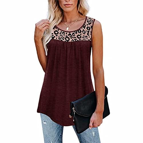 ZFQQ Camiseta sin Mangas con Cuello Redondo y Estampado de Leopardo Suelto para Mujer