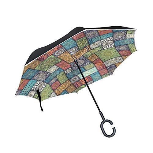 XiangHeFu - Paraguas invertido de Doble Capa, diseño de Mandala, Abstracto, Plegable, Resistente al Viento, protección UV, Gran Recto, para Coche, con Mango en Forma de C