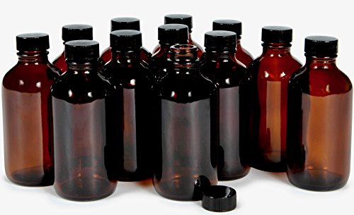 Vivaplex, 12, Amber, 4 oz Glass Bottles, with Lids