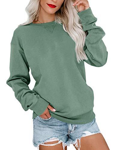 Bingerlily Womens Casual Long Sleeve Sweatshirt Crew Neck Cute Pullover Relaxed Fit Tops (Green,Medium)