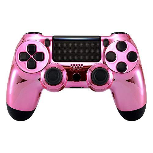 eXtremeRate PS4 ControllerSchutzhülle Case Obere Hülle Cover Oberschale Skin Schale Gehäuse Shell für Playstation 4 PS4 Slim PS4 Pro ControllerCUH-ZCT2 JDM-040 JDM-050 JDM-055(Chrome Pink)