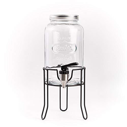 ana® Getränkespender COUNTRY STYLE | aus Glas mit Edelstahlzapfhahn und Schraubdeckel | inkl. Ständer (3,5 Liter)