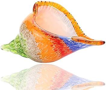 BONAKULA Figura decorativa de cristal de Murano, diseño de concha de mar de cristal soplado a mano, pisapapeles, decoración del hogar, adorno de boda (colorido)