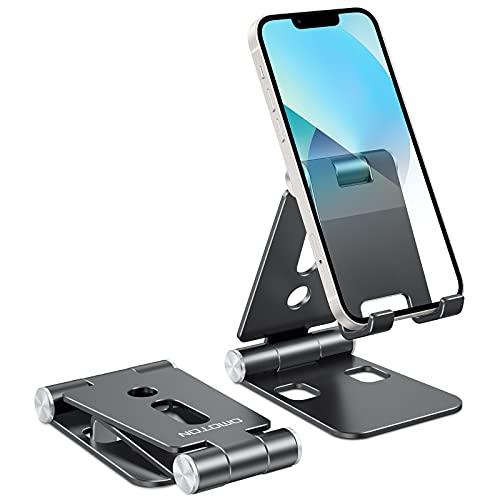 OMOTON Support Téléphone, Support Portable Bureau Support Double Pliable pour iPhone 13 Pro/13/12 Pro Max/SE 2020/11/8/7 Plus/Samsung A51, D'autres Smartphones, Noir