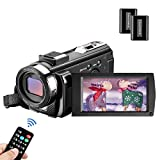 MELCAM Videocamera Youtube Vlogging, Camcorder FHD 1080P 24MP 30FPS 3.0' LCD Schermo Ruotabile...
