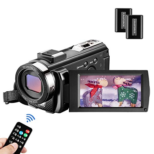 "MELCAM Videocamera Youtube Vlogging, Camcorder FHD 1080P 24MP 30FPS 3.0"" LCD Schermo Ruotabile 270°, Zoom Digitale 16X Webcam con Telecomando e 2 Batteries"