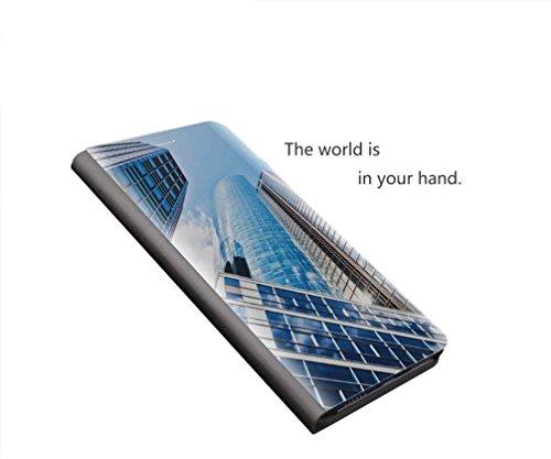 MRSTER Honor Play Hülle Clear View Standing Cover, Spiegel Handyhülle Schutzhülle Flip Case Schutz Tasche mit Standfunktion 360 Grad hülle für das Huawei Honor Play. Flip Mirror: Blue - 5