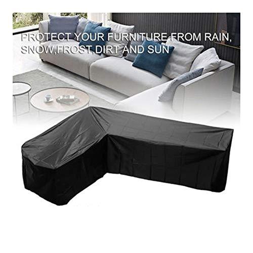 NINGWXQ L-vormige terrasmeubilair Set Inklapbare Bank van de Hoek waterdichte bescherming tegen de zon Dust Cover for meubels, 4 Maten, Zwart (Color : Black, Size : 215X215X80CM)