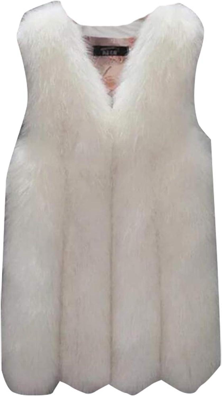 XQS Women's Coat Vest Warm Faux Fur Outerwear Mid Long Waistcoat