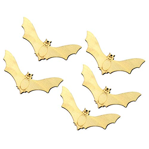 TINKSKY 10pcs Wooden Halloween Bat Pendant Small Hangings Pendants Props for DIY Party Decor Supplies
