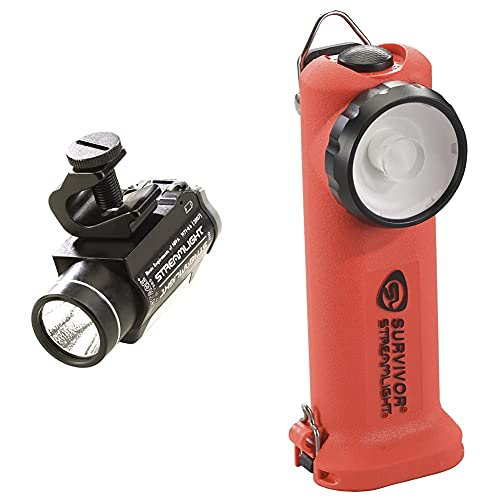 Streamlight 69140 Vantage LED Tactical Helmet Mounted Flashlight, Black & 90540 Survivor LED Right Angle Flashlight, Orange - 175 Lumens