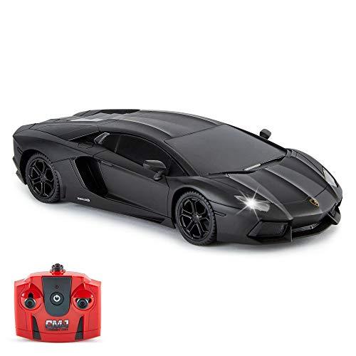 Lamborghini Aventador Ferngesteuertes Auto RC Mit Arbeitsscheinwerfern, fernsteuerung Auto Straßenmaßstab 1:24, 2,4 GHz , großartiges Spielzeug (Schwarz)