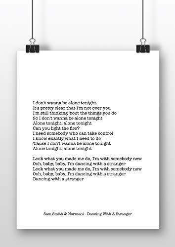 """Sam Smith & Normani Kunstdruck """"Dancing With A Stranger"""", Schreibmaschinen-Stil, A4"""