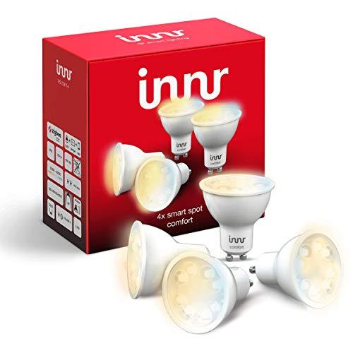 Innr GU10 ampoules LED connectées, réglable 2200K - 5000K, Philips Hue* & Alexa compatible (hub connecté requis) Blanc Chaud, 4-pack, RS 228T-4