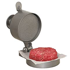 Press your favorite ground meat & seasonings into consistent, perfectly packed burgers Spring plunger button compacts the patty tightly then pops back for quick patty removal Also great for making stuffed burgers, crab cakes & sausage patties Great f...