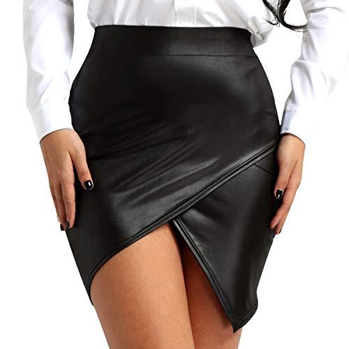 Agoky Mujeres Falda Recta Asimétrica Lateral Cintura Alta Falda de Cuero Negro Elasticidad Mini Falda Lápiz Bodycon A-Line Falda Oficina Básica por La Rodilla Negro X-Large