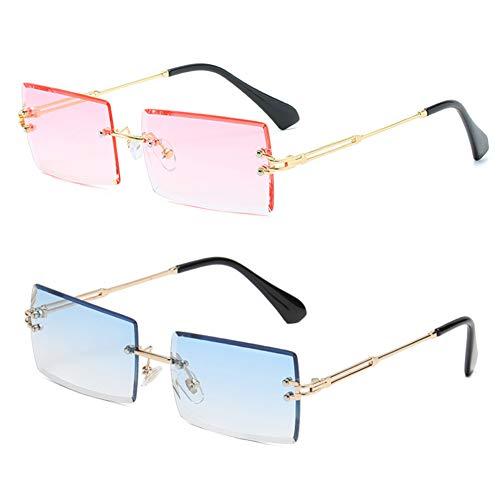 Grainas Retro Randlose Rechteck Sonnenbrille für Damen Herren Gold Ultraleicht Rahmen UV400-Schutz Vintage Bonbonfarben Klassische Quadratische Brille (Rosa + Blau)
