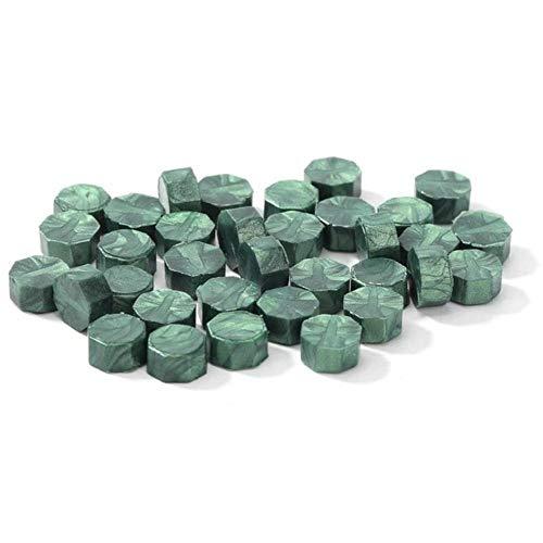 100 pcs/sac Vintage Cire D'étanchéité Tablette Pilule Perles Octogone Cire Joint Timbre Pour Enveloppe De Mariage Partie Estampage Grain D'étanchéité Cire, Pin vert