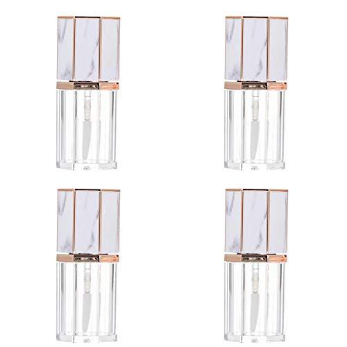 4 Stück Mini Behälter Lipgloss Flaschen, DIY Lipgloss Flaschen, Transparente Lipgloss Tuben mit Pinsel, für Lippenstift Kosmetische Frauen Mädchen DIY Kosmetik, 5 ml