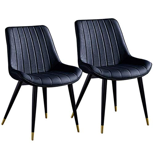 SFSGH Classic Set of 2 Luxurious Kitchen Dining Chairs PU Leather Thicken Seat Retro Dining Chairs with Backrest Metal Legs for Lounge Dining/Living/Cafe Reception Chair