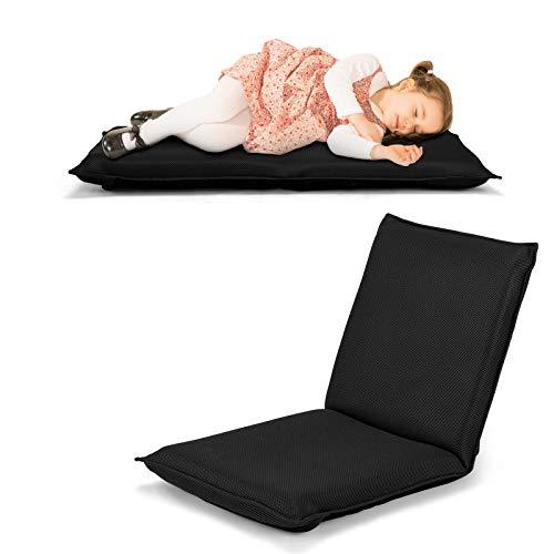 COSTWAY Bodenstuhl Bodensessel mit 6- stufig Verstellbarer Rückenlehne, Game Sessel gepolstert, Bodensofa Meditationsstuhl Lazy Sofa Fensterstuhl Meditationsstuhl (Schwarz)