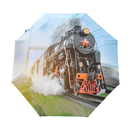 RXYY Jahrgang Schwarz Dampf Lokomotive Zug Falten Auto Öffnen Schließen Regenschirm für Frauen Männer Jungs Mädchen Winddicht Kompakt Reise Leicht Regen Regenschirm