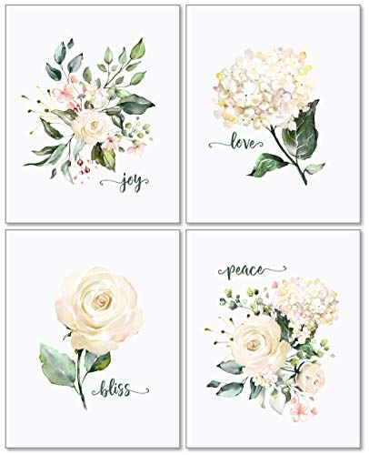 Confetti Fox White Flowers Nursery Wall Decor - 8x10 Unframed Set of 4 Art Prints - Inspirational Watercolor Botanical Blush Floral - Peace Love Joy Bliss