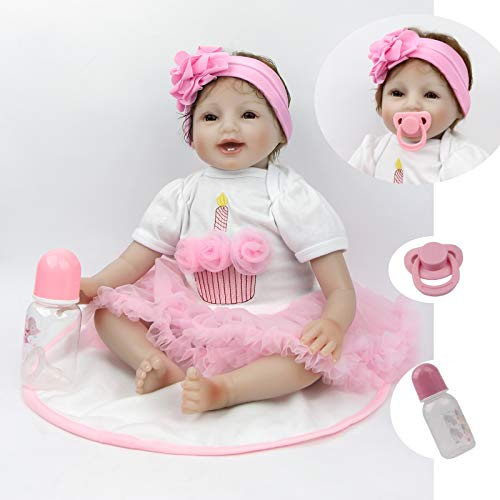 """Antboat 55 cm Realistic Reborn Baby Muñecos Bebé 22 """" Vinyl Newborn Baby Dolls Recién Nacido de Silicona Regalo"""