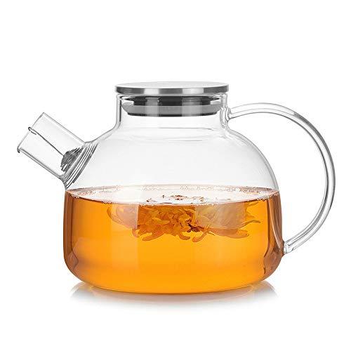 Nobrand Teapots, 1000 ml, van glas, hittebestendig, met roestvrij stalen bollen, transparante houder