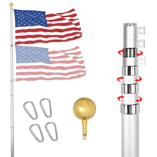 YDisplay 20ft Flag Pole Telescoping Kit-Outdoor 16 Gauge Aluminum Flagpole with 3x5 American Flag, Golden Top Ball and Clips- Outdoor Flag Pole Inground for Yard Patio Garden- Can Fly 2 Flags