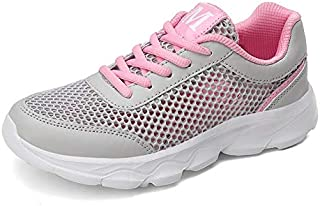 FYXKGLa Summer New Big Net Hollow Ladies Casual Shoes with Wild Women's Shoes Sports Shoes (Color : Gray-Pink, Size : 35EU)