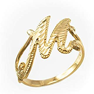 Sparkle-Cut Letter Initial Script Ring In 10K Yellow Gold