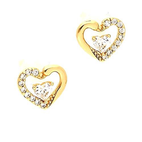 Pendientes con forma de corazón, cristal blanco, oro amarillo 750 laminado*