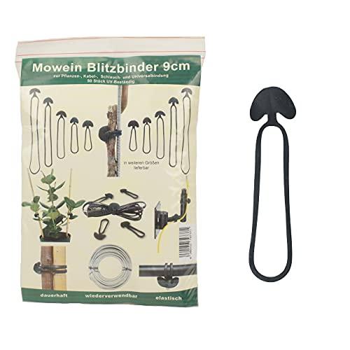 Mowein 50 Blitzbinder 9cm - Pflanzenbinder für Gartenbau und Haushalt   Kabelbinder   Schlauchbinder   Universalbindung aus Gummi   50 Stück   UV-beständig und elastisch   wiederverschließbar