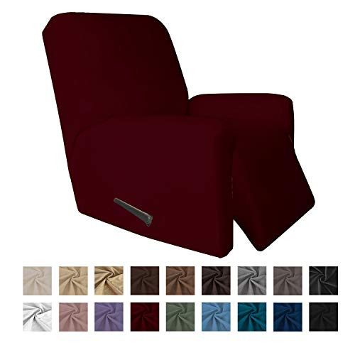 Easy-Going 4 Pieces Microfiber Stretch Recliner Slipcover – Spandex Soft Fitted Sofa Couch Cover, Washable Furniture Protector with Elastic Bottom for Kids,Pet (Recliner,Wine