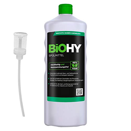 BIOHY Professioneel afwasmiddel, 1 liter, fles + doseerder, vrij van schadelijke chemicaliën en biologisch afbreekbaar, innovatieve glans- en vetoplossingsformule, geschikt voor gastronomie, industrie en huishouden