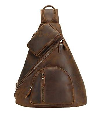 Polare Full Grain Leather Sling Bag For Men Outdoor Travel Shoulder Chest Daypack With Premium YKK Zippers