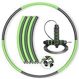 ELTD フラフープ エクササイズフラフープ 組み立て式 ダイエット 人気 大人 子供 男女兼用 初心者 高級者 分離収納 新体操用品 室内室外対応 縄跳び付き 六本 グレイ+緑