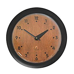 "Chicago Lighthouse 14"" Oak Veneer Traditional Wall Clock, Black, Quiet"