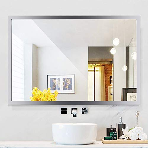WATERJOY Large Rectangular Bathroom Wall Mirror, Stainless Steel Frameless Vanity Glass Make-up Mirror, Decors Mirror (36