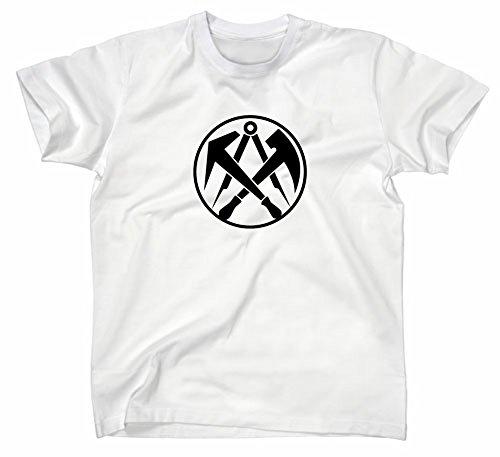 Dachdecker Handwerk Zunft Logo T-Shirt, L, Weiss