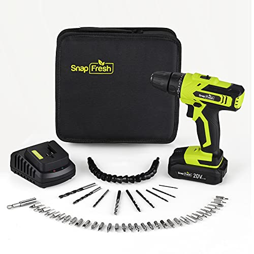 SnapFresh 20V Power Cordless Drill, 2000mAh Lithium Battery with 1 Hour Quick Charge, Drills Cordless with 45pcs Accessories Drill Bit Set, Drills and Driver Sets Cordless with LED Work Light