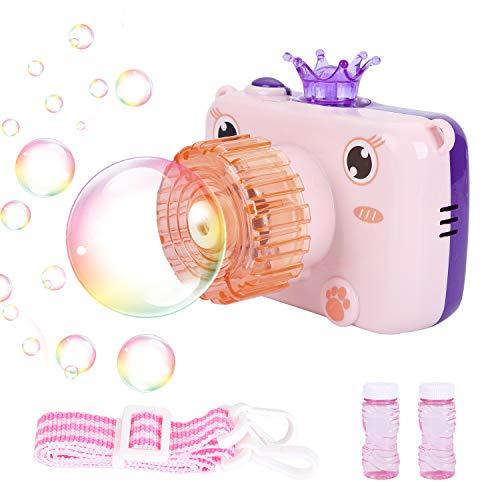 Colmanda Seifenblasenmaschine, Automatische Bubble Machine Licht Musik Kinder Blasen mit 2 × 50ml Seifenblasenlauge, Bubble Maschinen für Kinder & Erwachsene (Krone)