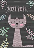 2021-2025 A4 Five Year Diary | Cute Grey Cat Teacher: UK Month to View Diary / Motivational & Inspirational Personal Planners & Organisers (moon phases, tabs, birthdays, notes)
