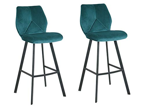Meubletmoi barkruk, velours, voetensteun, metaal, zwart, hoge stoel, industrieel design, chic & comfortabel, 2 stuks Blauw
